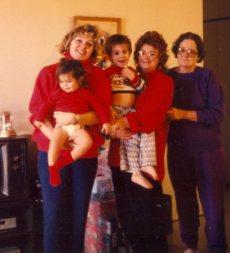 Me holding Alexandra, my mom, Johanna holding Benjamin and Grandma Wilma Pope Christmas 1992